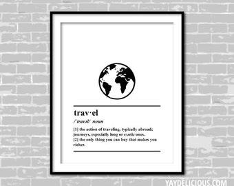 Travel Definition Print - World - Globe - Adventure - Wanderlust - Black and White - Minimalist Wall Art
