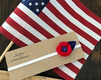 Red, White & Blue Patriotic Felt Flower headband for newborn/baby/toddler/little girl