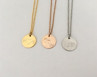 Name disc necklace, gold silver rose gold initial,disc initials necklace, circle name necklace, baybe shower gift, necklace,bridesmaid gif