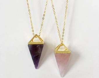 Healing Crystal, Amethyst Necklace ,Gold Plated .Howlite Rose Quartz , Natural Stone Pendant
