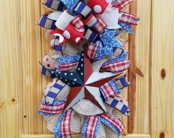 Americana Patriotic Wreath Swag- 4th of July Wreath Swag for Front Door- Patriotic Wreath for Front Door- 4th of July Decor- Free Shipping