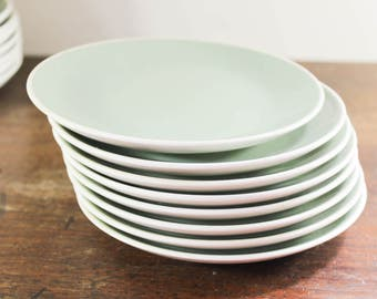 Vintage Harkerware Restaurant Ware Small Dinner Plates, Green Patterned, Oven-Proof Since 1840, Dish Washer Proof U.S.A.