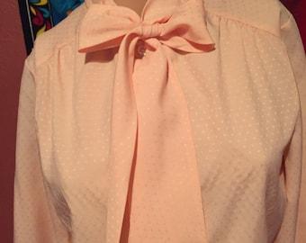 Pink Polka Dot Long Sleeve Blouce
