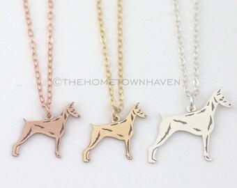 Doberman Necklace - Pinscher Doberman charm necklace, Dobie lover