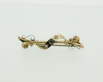 A 9ct Art Nouveau Style Seed Pearl And Sapphire Brooch   SKU949