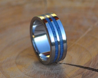 Stainless Steel Ring for Women and Men with Lapis Lazuli Inlay