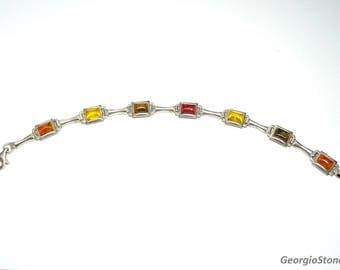 Vintage Baltic Amber Multicolor Bracelet, made of Sterling Silver 925
