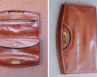1970's Etienne Aigner Camel Leather Fold Clutch / Purse