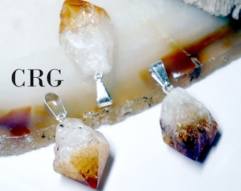 Citrine Crystal Point Pendant w/ Silver Plated Bail (PT10BT)