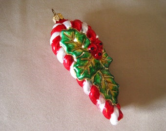 Painted Glass Candy Canes Vintage Christmas Ornament