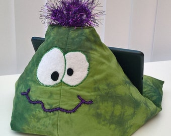 Ipad Stand Cushion GREEN MONSTER CHARACTER, Tablet Stand, Kindle Stand, Book Stand, Phone Stand, Tablet Holder, Ipad Pillow, Ipad Cushion