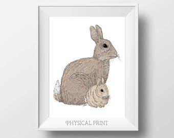 Bunny Nursery Art - Baby Rabbit Art - Rabbit Print - Bunny Nursery Decor - Rabbit Nursery - Rabbit Art For Baby - Woodland Animal - Bunny