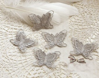3.7*5.5CM wide 20pcs gray 3D organza butterfly embroidery lace appliques patches L14M151 free ship