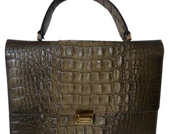 handbag in croco - 60/70s vintage
