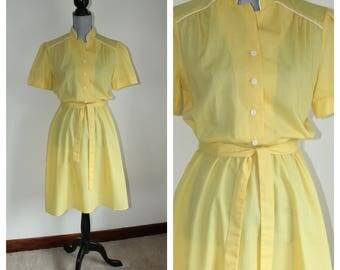 Light Summer Dress, 1970s Yellow Dress Cotton Blend Size 14
