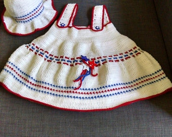 Crochet Stars and Stripes Dress and Hat Set 12-18 months size