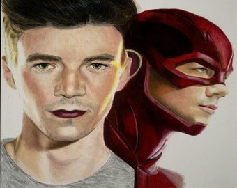 The Flash Colored Pencil Drawing Print