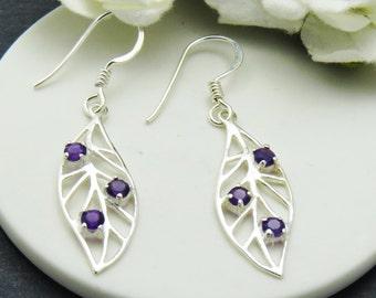 Silver Amethyst Leaf Earrings, Long Sterling Silver Amethyst Earrings, Leaf Jewelry