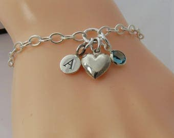 Sterling Silver Bridesmaid Personalised Charm Bracelet, Silver Heart Bracelet, Wedding Jewelry
