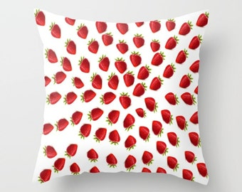Strawberry Pillow Cover Strawberries Pillow Cover Strawberry Indoor Pillow Cover Strawberry Outdoor Pillow Cover