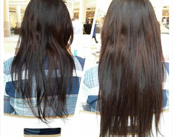 1B-Natural Black-100% Human Hair Flip-in(Halo style) extension