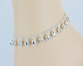 silver bell anklet Jingly bells anklet ankle bracelet jingle bell adjustable silver tone gypsy bells ankle bracelet hippie