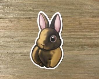 Black Japanese harlequin rabbit sticker; printed chibi black harlequin bunny vinyl sticker, waterproof, weatherproof