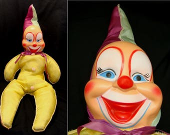 "Vintage clown doll-large clown doll toy-creepy old clown-scary vintage clown-32"" tall big stuffed clown-it is a clown"
