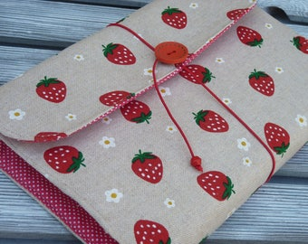 Book Sleeve, Strawberry fabric, Fabric book cover, Adjustable book cover, Book pouch, paperback book cover, Booklovers -  Strawberries