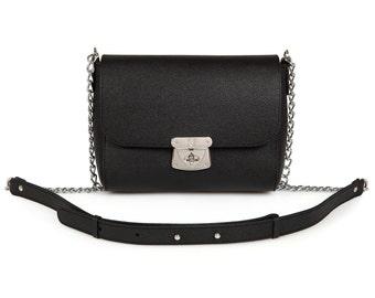 Leather Cross body Bag, Black Leather Shoulder Bag, Women's Leather Crossbody Bag, Leather bag KF-685