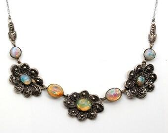 Fine Antique Art Deco White Metal & Dragons Breath Opal Glass Necklace