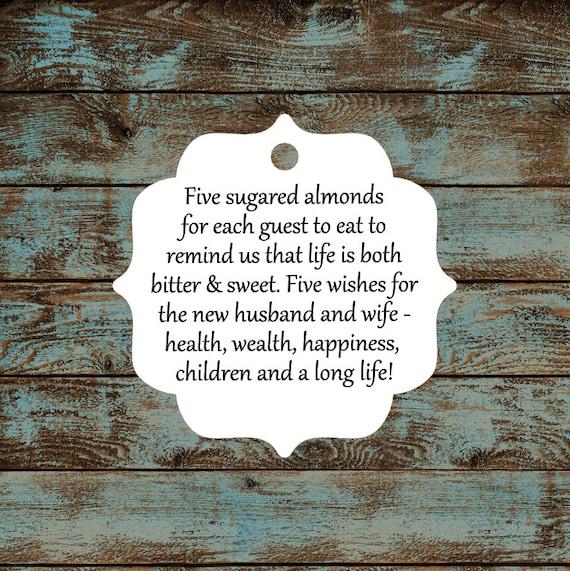 Favor Tags, Jordan Almond Favor Tags, Sugared Almond Favor Tags, Italian Wedding Favor Tags #617 - Qty: 25 Tags