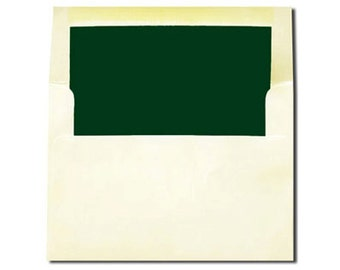 20 Cream with Hunter Green Lined Envelopes - A7 and A2 Sizes - A2 SIZE ON SALE 5 cents each!