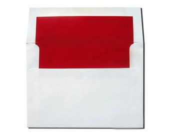 20 White with Red Lined Envelopes in A7 and A2 Sizes