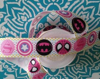 Superhero Ribbon, Grosgrain Ribbon, Bow Making Supplies, Bow Ribbon, Bow Supplies