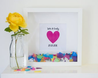 Personalised 'Happy Heart' Confetti Frame