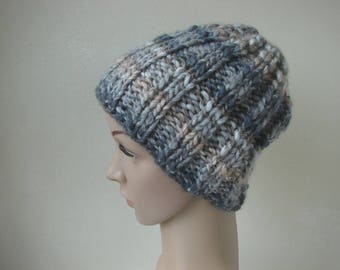 Hand knit hat gray blue brown adult small warm winter hat knit in round thick and thin woolen acrylic effect yarn men women chunky knit hat