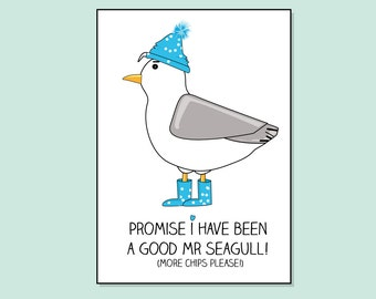 Seagull Card 'Promise I have been a good Mr Seagull' by Katie Cheetham