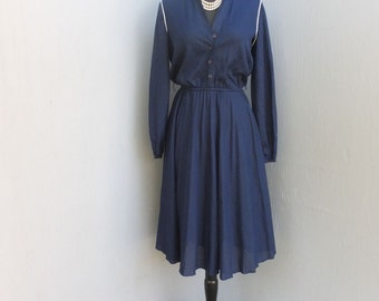 Vintage 1970s Dress, Cheekaberry, Navy Blue Day Dress, Fit and Flare, Secretary Dress, Size Medium