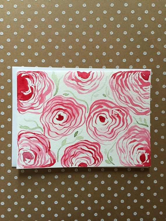 Original Watercolor Flower Card, Flower Note Card, Homemade Flower Card, Hand Painted Card