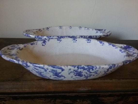 Pair of Bybee blue speckled baking dishes