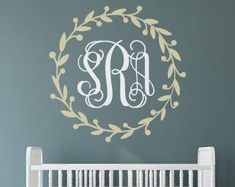 Vine Monogram Decal Vinyl / Rustic Wreath Monogram Decal / Floral Decal / Nursery Decal / Girls Room Decal / Nursery Decor / Baby Decal