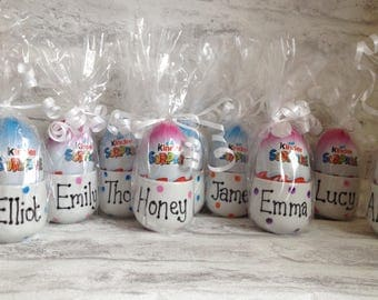 Personalised gift wrapped easter egg cup with kinder egg surprise