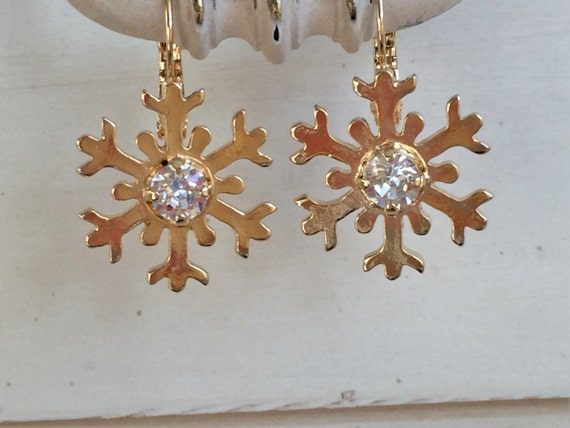 Crystal Snowflake Earrings, Yellow Gold