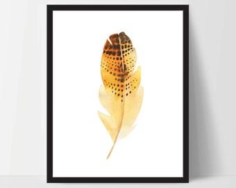 Printable Wall Art, Feather Art, Wall Print, Feather Boho Art, Wall Prints, Feather Prints, Printable Art, Printables, Mustard Orange Yellow