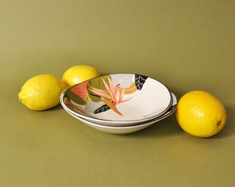 Tropical Print Bowl Set, Vintage 1980s Bowls, Sango Larry Laslo Collection Maui 7001 1986, 80s Print Tableware, 80s Modern Decor