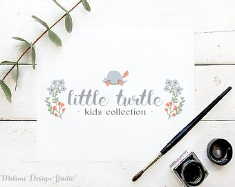Pre-made Logo Design, Sweet Turtle Logo, Kids Business Logo, Baby Boutique Logo design, Children Logo (33-LOGO)