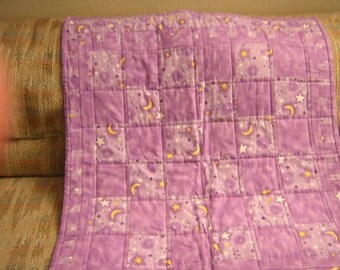 """Lavender Baby Blanket, Quilted - Purple Baby Blanket - 38 1/2"""" by 31"""" - Stars and Moons - Flannel Fabric - READY TO SHIP"""