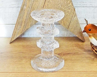 Iittala Festivo 2 Ring Candle Holder Timo Sarpaneva 1966 Design Made in Finland Crystal Candlestick Scandinavian Glass Compare at 50.00 USD