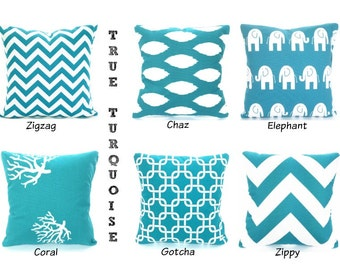 Turquoise Pillow Covers, Aqua Cushions, Decorative Throw Pillows, True Turquoise White Chevron Nursery One or More Mix & Match All Sizes